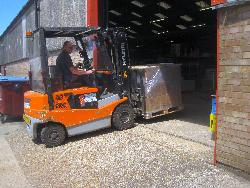 USDA-NRCS materials needing forklift assistance for moving